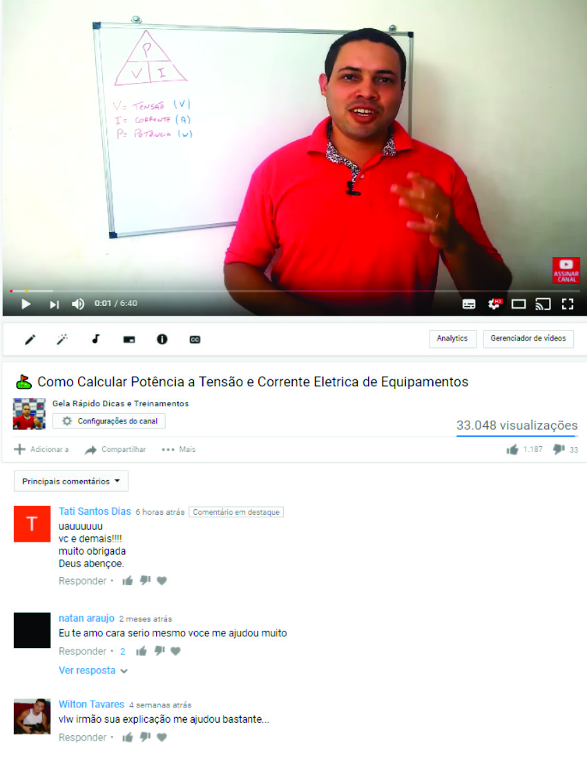 depoimento youtube